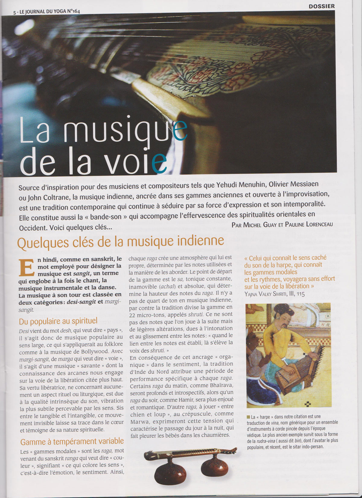 Article dans le journal du yoga